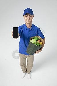 外卖小哥配送蔬菜图片