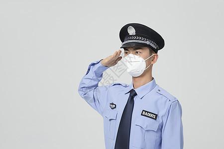 保安戴口罩敬礼手势图片