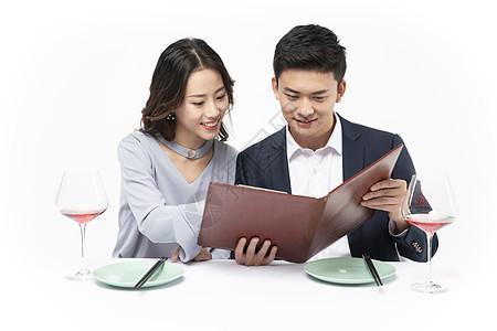 情侣约会餐厅点餐图片