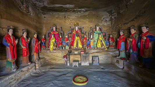 西北榆林红石峡洞窟佛像图片