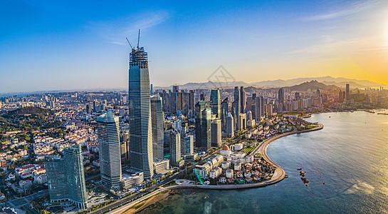 航拍青岛东部城区现代化高楼图片