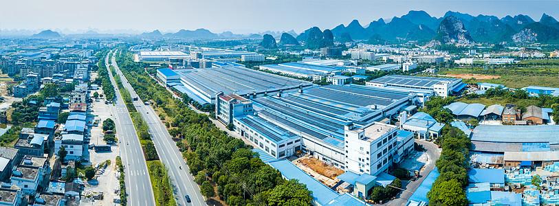 全景航拍线缆厂厂区大厂房图片