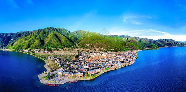 云南丽江泸沽湖大落水村航拍全景图片