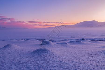 冰岛日出迷人自然美景图片