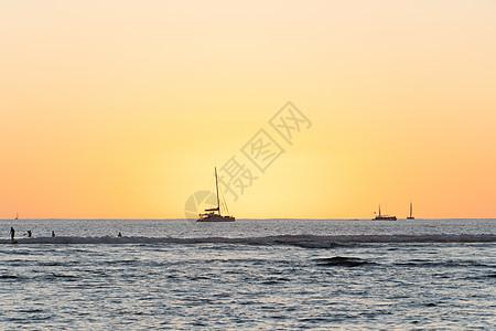 日落时分夏威夷威基基海滩日落图片