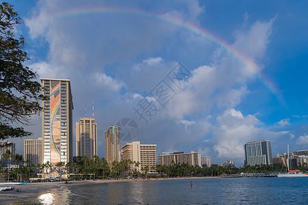 夏威夷檀香山威基基海滩希尔顿酒店彩虹图片