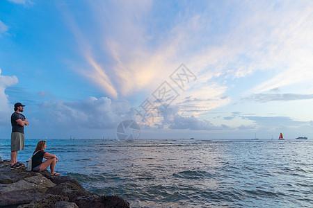 美国夏威夷檀香山威基基海滩日落图片