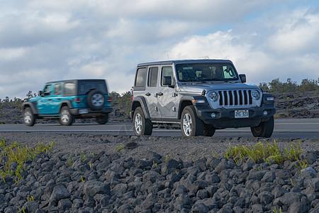 夏威夷大岛火山国家公园吉普车动静对比图片