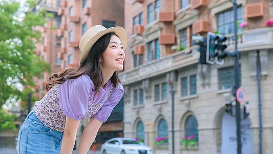 夏日小清新美女街拍图片