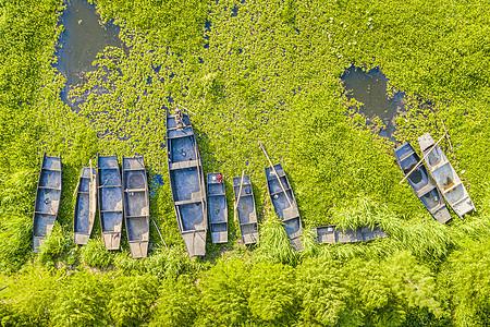 夏天苏州太湖航拍渔船图片