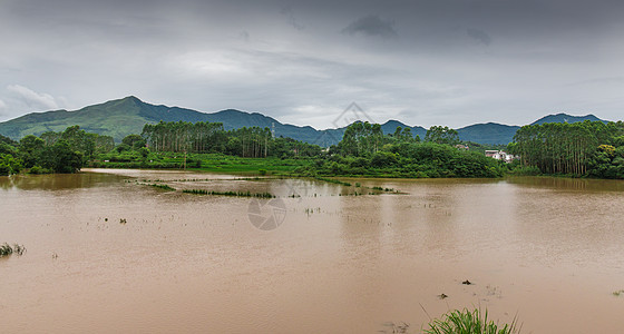 暴雨洪水淹没农田图片