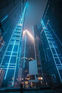 青岛CBD高楼夜景亮化图片