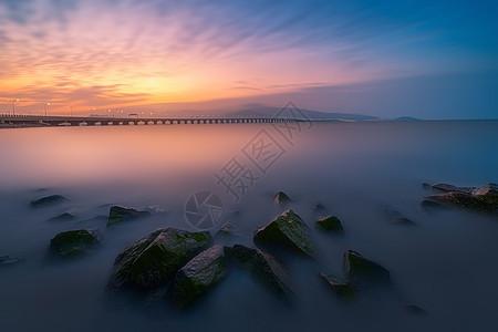 连云港田湾大桥落日图片