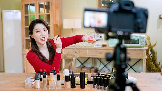 网络直播口红试妆员化妆品试色对比直播图片