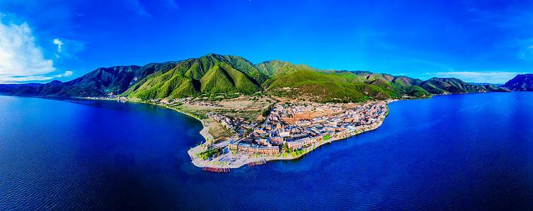 泸沽湖大落水村航拍全景图图片