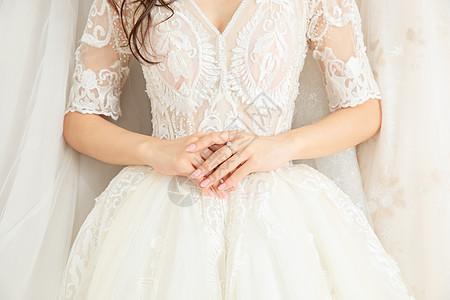 穿婚纱的美女特写图片