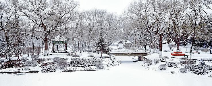 内蒙古呼和浩特满嘟海公园冬季下雪景观图片