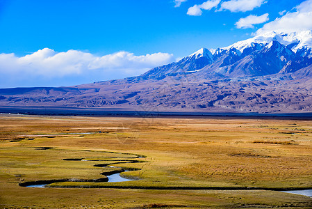 新疆喀什帕米尔高原塔合曼湿地自然风光图片