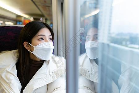 少女坐在火车车厢看窗外风景图片