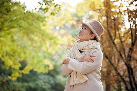 老奶奶秋季保暖逛公园看秋季风景图片