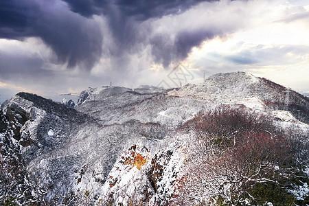 日本北海道室兰山地雪景自然风光图片