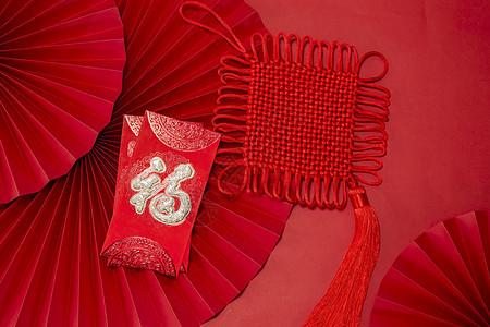 新年静物红包和中国结图片