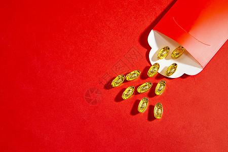 新年静物红包和金元宝图片