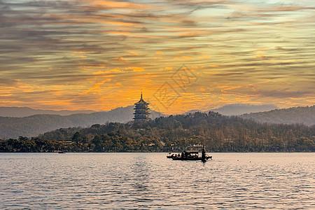 中国浙江杭州西湖雷峰塔风景图片