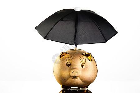雨伞保护下的储蓄罐金融安全图片