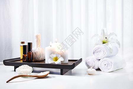SPA浴盐护肤静物背景素材图片