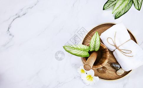 SPA护肤护体绿色静物背景图片