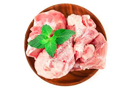 新鲜猪肉筒子骨白底图图片
