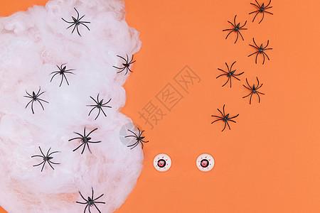 万圣节搞怪眼珠子和蜘蛛网图片