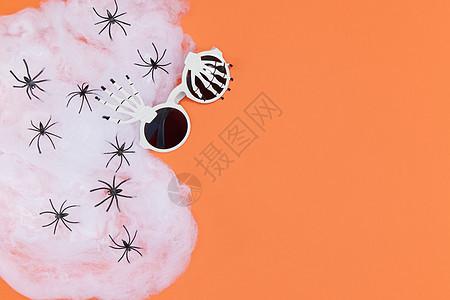 万圣节蜘蛛和骷髅眼镜图片