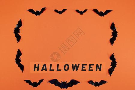 万圣节英文卡片和蝙蝠图片