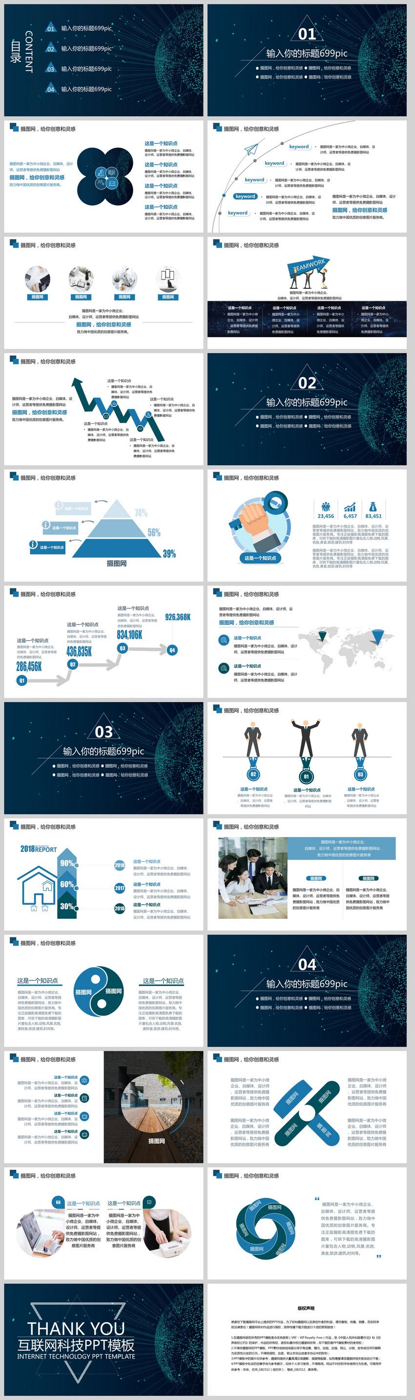 蓝色科技感互联网AI智能产品发布PPT模板图片