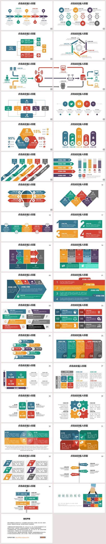 欧美多彩商务数据图PPT模板