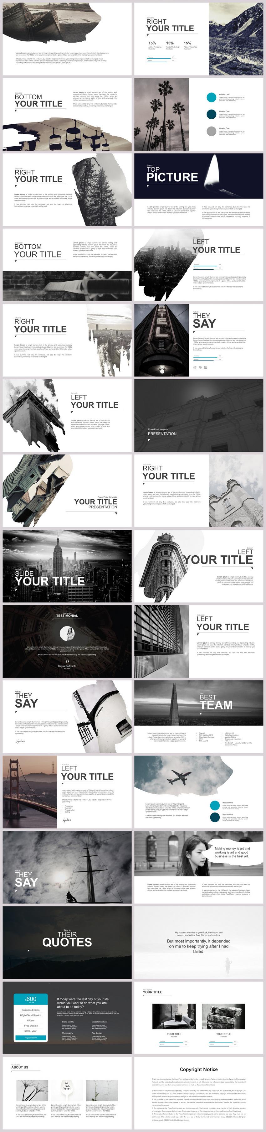酷炫欧美风黑白商业宣传介绍PPT模板图片