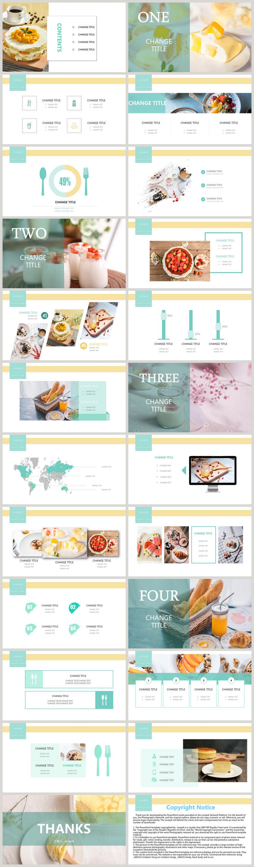 小清新美食食物品牌宣传PPT模板图片