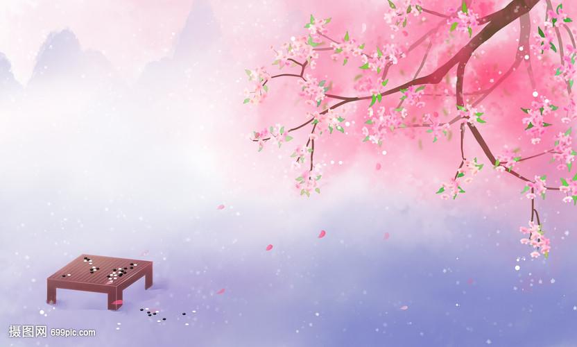 春天古风唯美桃花背景图