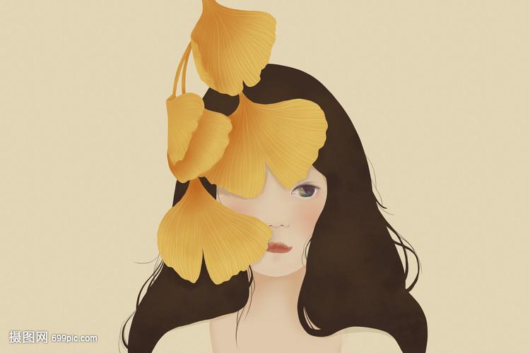 银杏叶袜筒小a袜筒女孩女生长脱插画图片
