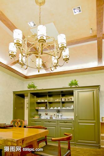 现代简约简欧式家装家居客厅家具金丝吊灯家具南厨房柜子图片