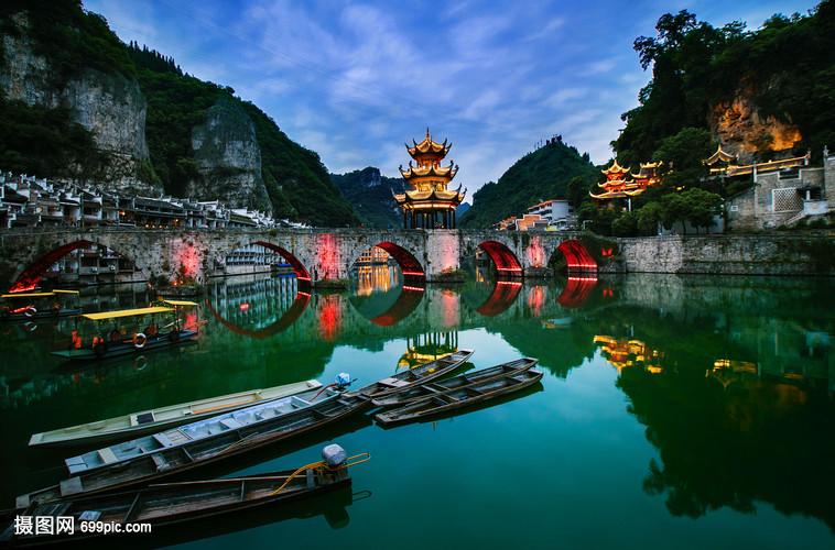 大美贵州水上人家侗族民族建筑高中桥山脉法库小河2015级图片