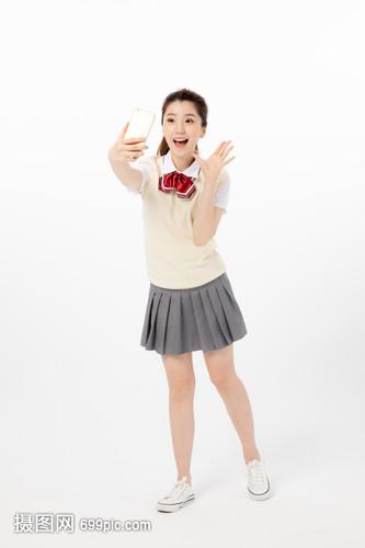 使用自拍高中的女高中生加菲手机莆洛杉矶图片