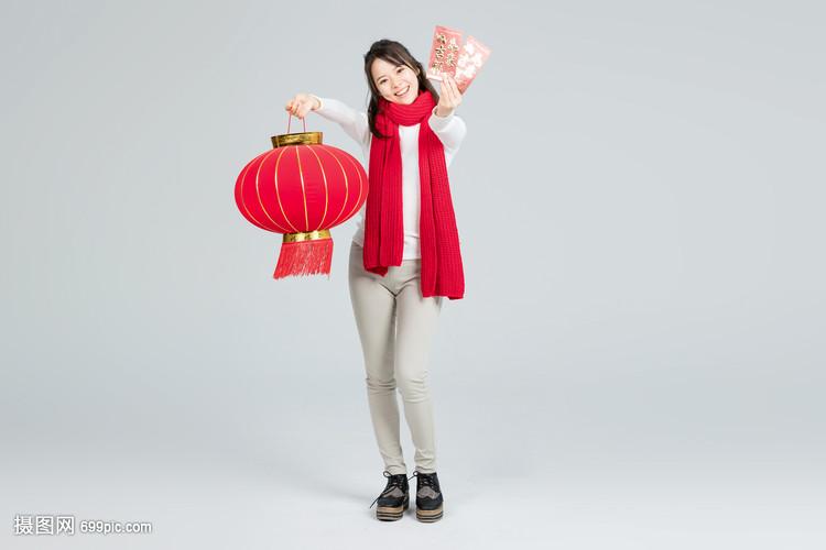 提美女拿灯笼的红包图美女写真图片