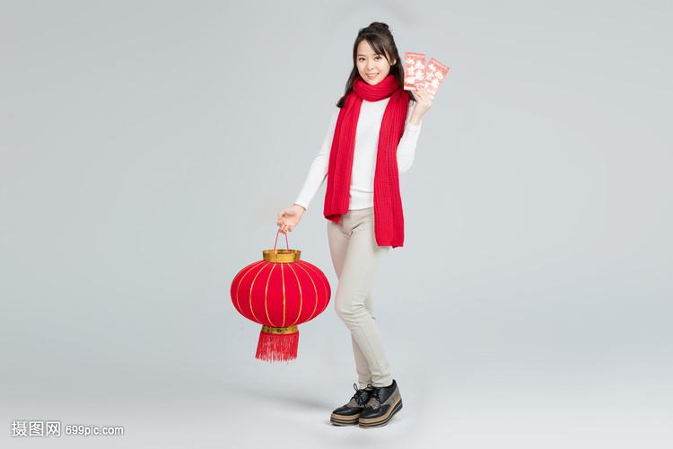 提美女拿古装的灯笼格斗美女红包图片