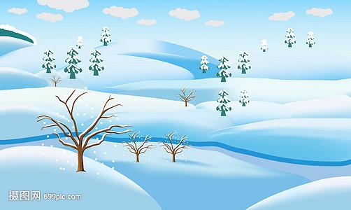 卡通冬季雪景风景插画