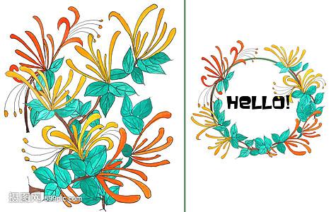 手绘水彩金银花