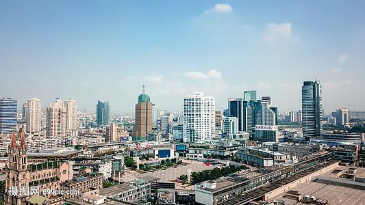 航拍宁波的城市建筑