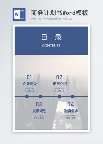 简约深蓝欧美风商业计划书Word模板图片